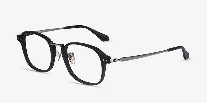 Lalo Matte Black Acetate Eyeglass Frames from EyeBuyDirect, Angle View