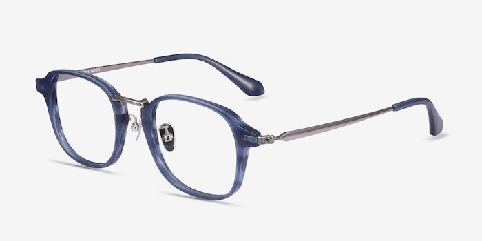 Lalo Blue Acetate Eyeglass Frames from EyeBuyDirect, Angle View