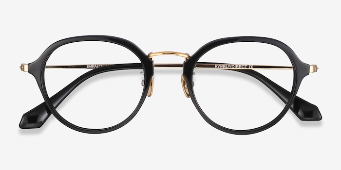 Impact Black Acetate Eyeglass Frames from EyeBuyDirect, Closed View