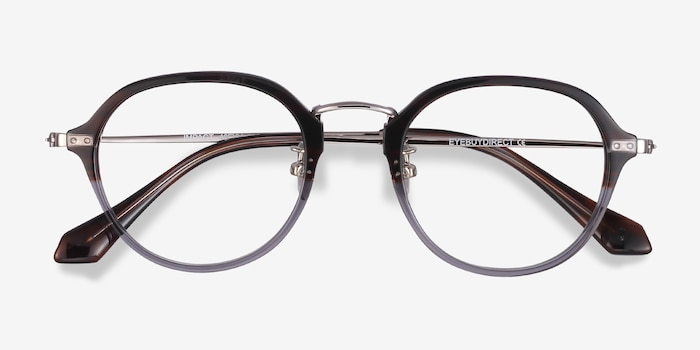 Impact Striped Acetate Eyeglass Frames from EyeBuyDirect, Closed View
