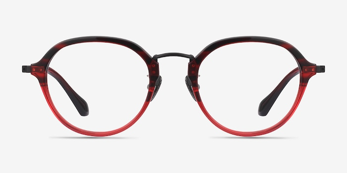 Impact Red Striped Acetate Eyeglass Frames from EyeBuyDirect, Front View