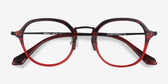 Impact Red Striped Acetate Eyeglass Frames from EyeBuyDirect, Closed View