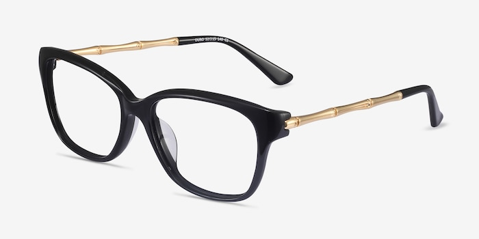 Ouro Black Golden Acetate Eyeglass Frames from EyeBuyDirect, Angle View