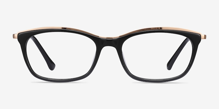 Sina Black Golden Acetate Eyeglass Frames from EyeBuyDirect, Front View