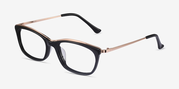 Sina Black Golden Acetate Eyeglass Frames from EyeBuyDirect, Angle View
