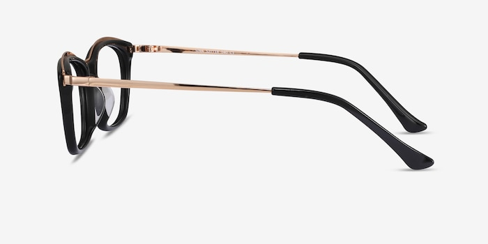 Sina Black Golden Acetate Eyeglass Frames from EyeBuyDirect, Side View