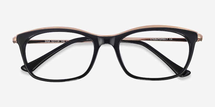 Sina Black Golden Acetate Eyeglass Frames from EyeBuyDirect, Closed View