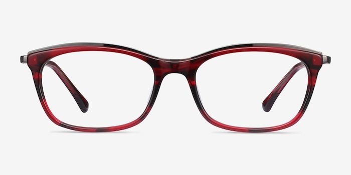 Sina Red Acetate Eyeglass Frames from EyeBuyDirect, Front View