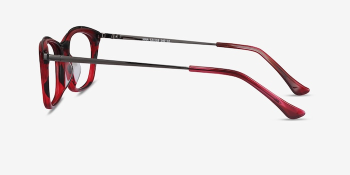 Sina Red Acetate Eyeglass Frames from EyeBuyDirect, Side View