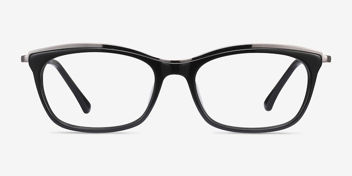 Sina Black Silver Acetate Eyeglass Frames from EyeBuyDirect, Front View