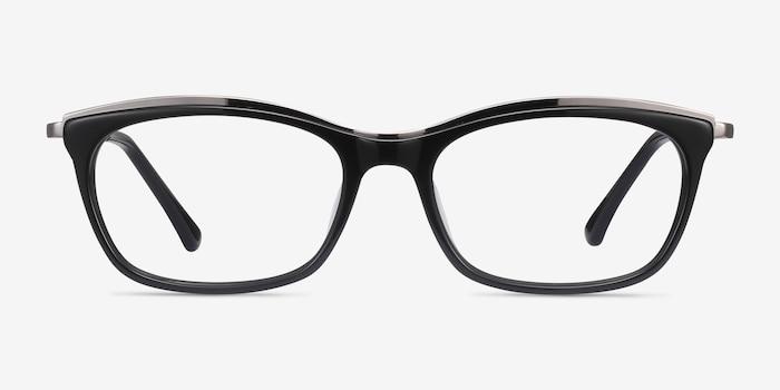 Sina Black Silver Acétate Montures de Lunettes d'EyeBuyDirect, Vue de Face