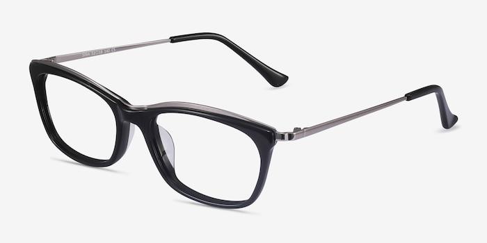 Sina Black Silver Acétate Montures de Lunettes d'EyeBuyDirect, Vue d'Angle