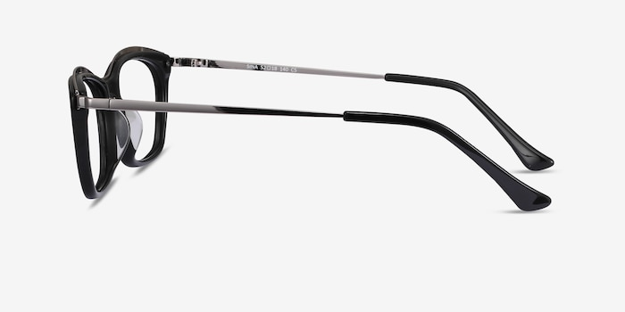 Sina Black Silver Acetate Eyeglass Frames from EyeBuyDirect, Side View