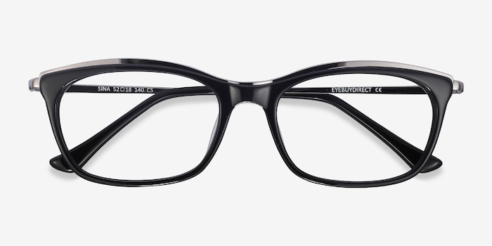 Sina Black Silver Acétate Montures de Lunettes d'EyeBuyDirect, Vue Rapprochée