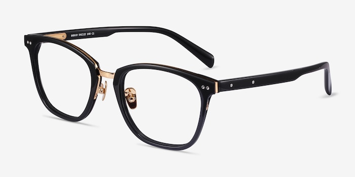 Biblio Black Metal Eyeglass Frames from EyeBuyDirect, Angle View