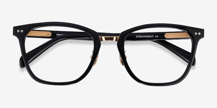 Biblio Black Metal Eyeglass Frames from EyeBuyDirect, Closed View