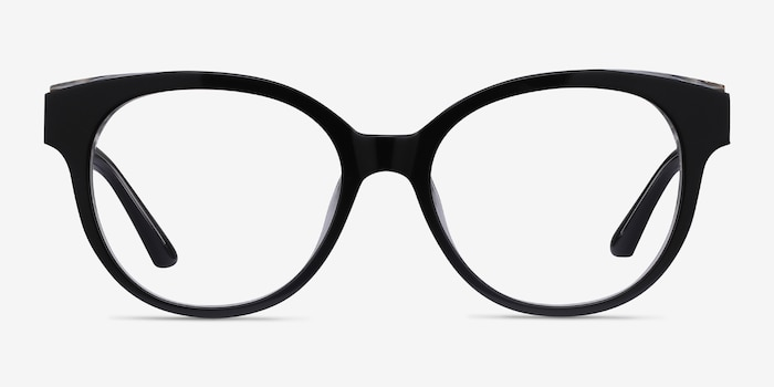 Vee Black Acetate Eyeglass Frames from EyeBuyDirect, Front View