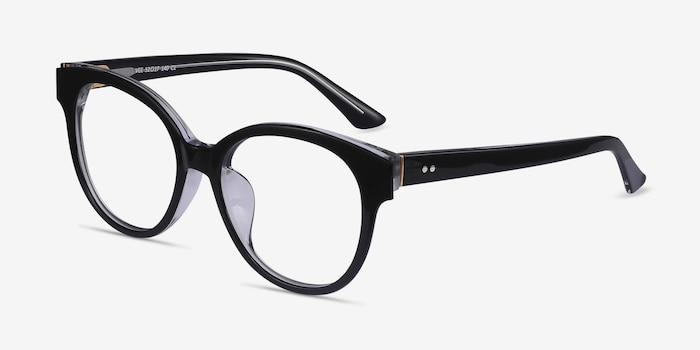 Vee Black Acetate Eyeglass Frames from EyeBuyDirect, Angle View