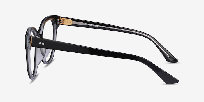 Vee Black Acetate Eyeglass Frames from EyeBuyDirect, Side View