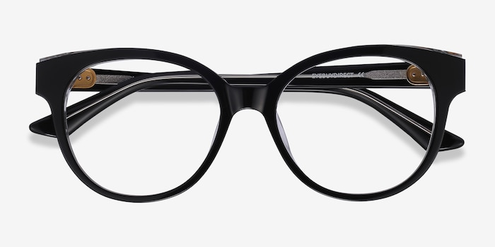 Vee Black Acetate Eyeglass Frames from EyeBuyDirect, Closed View