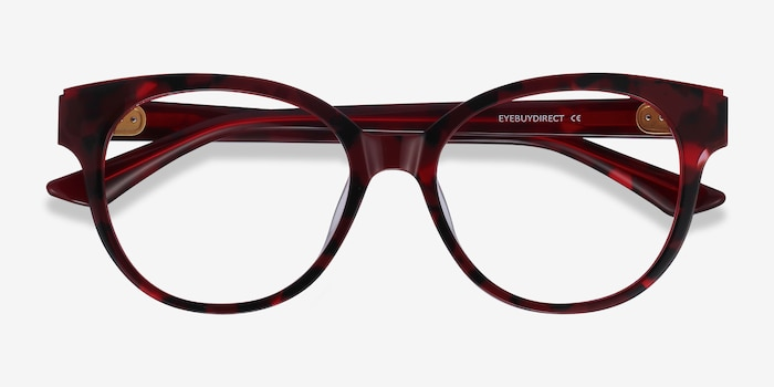 Vee Red Floral Acetate Eyeglass Frames from EyeBuyDirect, Closed View