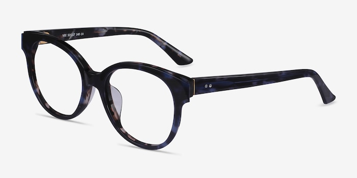 Vee Blue Floral Acetate Eyeglass Frames from EyeBuyDirect, Angle View
