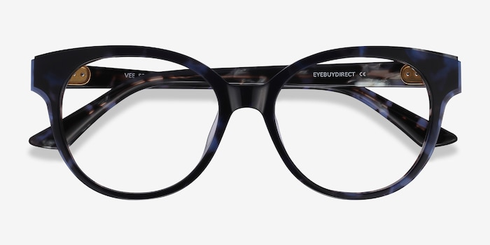 Vee Blue Floral Acetate Eyeglass Frames from EyeBuyDirect, Closed View