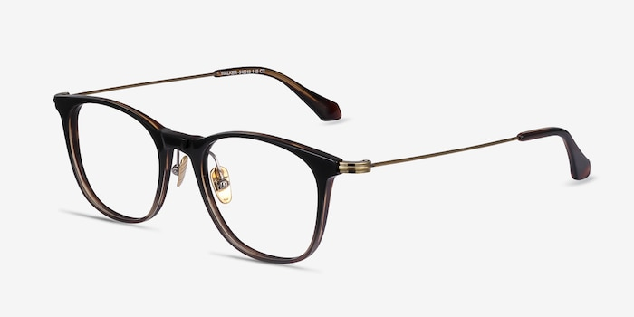 Walker Black Brown Metal Eyeglass Frames from EyeBuyDirect, Angle View