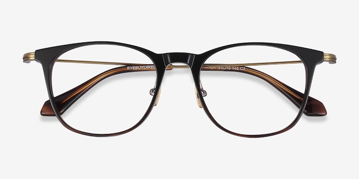 Walker Black Brown Metal Eyeglass Frames from EyeBuyDirect, Closed View