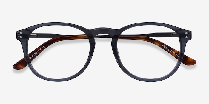 Akio Gray Acetate Eyeglass Frames from EyeBuyDirect, Closed View