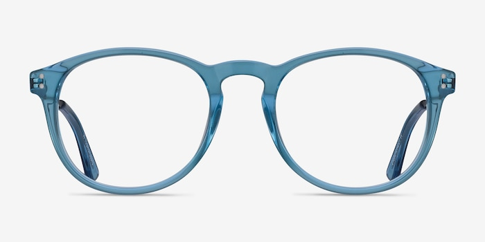 Akio Blue Acetate Eyeglass Frames from EyeBuyDirect, Front View