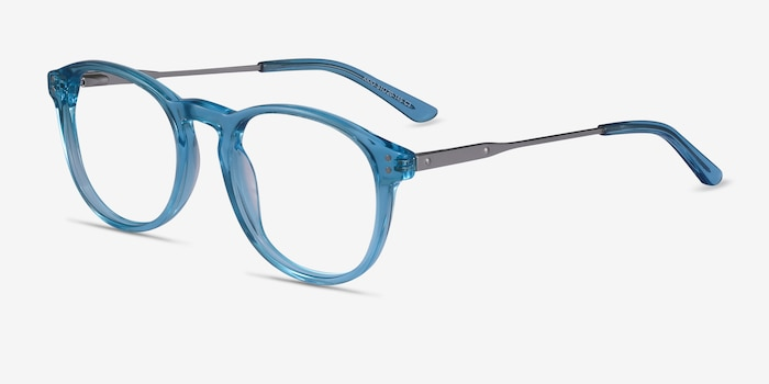 Akio Blue Acetate Eyeglass Frames from EyeBuyDirect, Angle View