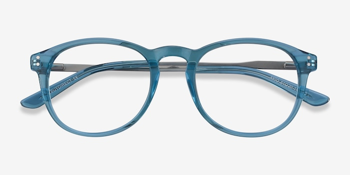 Akio Blue Acetate Eyeglass Frames from EyeBuyDirect, Closed View