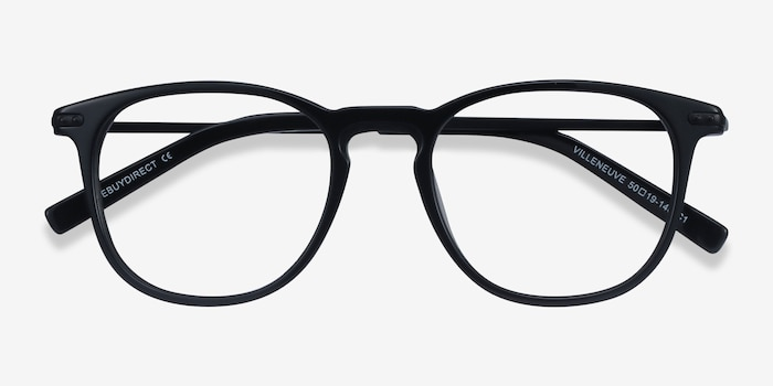 Villeneuve Black Acetate-metal Eyeglass Frames from EyeBuyDirect, Closed View