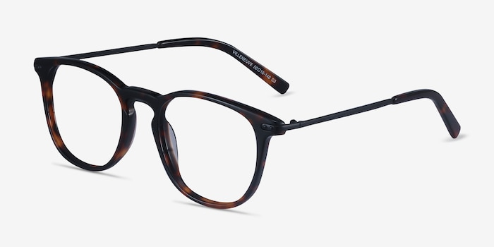 Villeneuve Dark Tortoise Metal Eyeglass Frames from EyeBuyDirect, Angle View