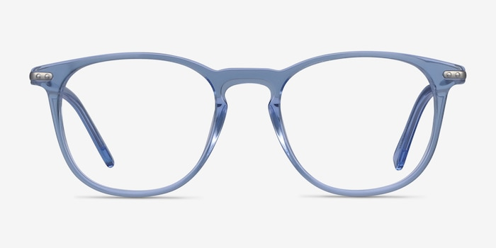 Villeneuve Blue Metal Eyeglass Frames from EyeBuyDirect, Front View