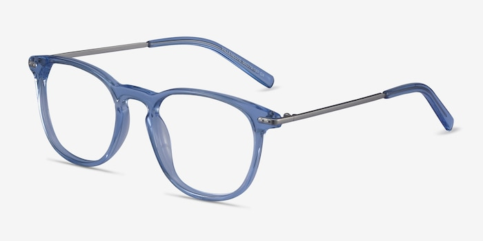 Villeneuve Blue Metal Eyeglass Frames from EyeBuyDirect, Angle View