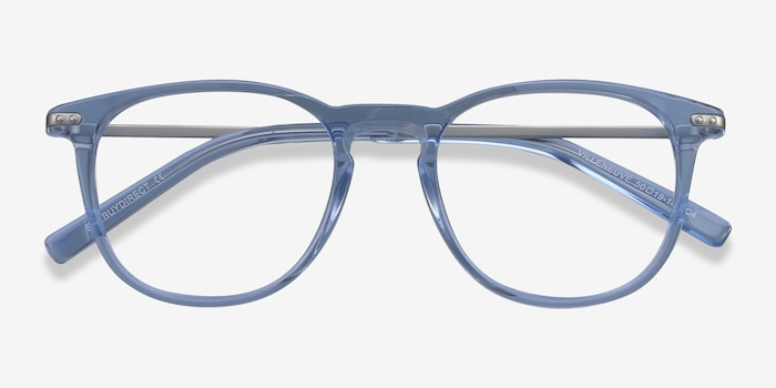 Villeneuve Blue Metal Eyeglass Frames from EyeBuyDirect, Closed View