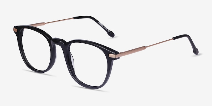 Giverny Black Metal Eyeglass Frames from EyeBuyDirect, Angle View