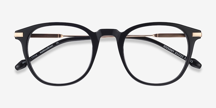 Giverny Black Metal Eyeglass Frames from EyeBuyDirect, Closed View