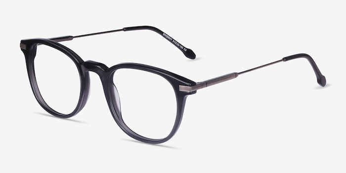Giverny Gray Metal Eyeglass Frames from EyeBuyDirect, Angle View