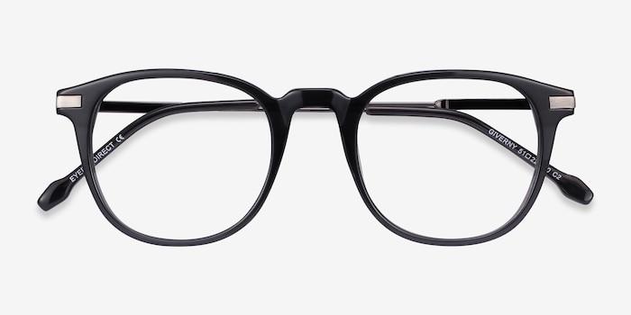 Giverny Gray Metal Eyeglass Frames from EyeBuyDirect, Closed View