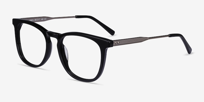 Vibes Black Metal Eyeglass Frames from EyeBuyDirect, Angle View