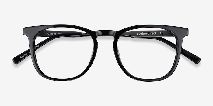 Vibes Black Metal Eyeglass Frames from EyeBuyDirect, Closed View