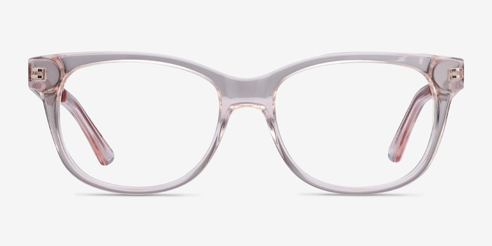 Story Clear Pink Acetate-metal Eyeglass Frames from EyeBuyDirect, Front View