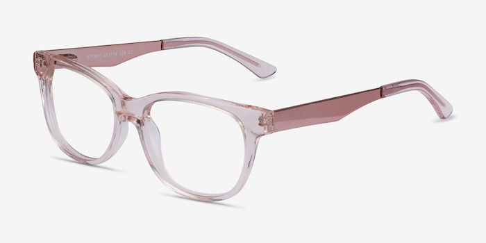Story Clear Pink Acetate Eyeglass Frames from EyeBuyDirect, Angle View