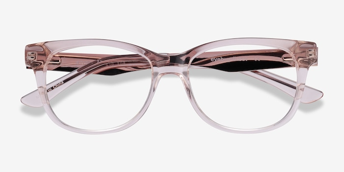 Story Clear Pink Acetate Eyeglass Frames from EyeBuyDirect, Closed View