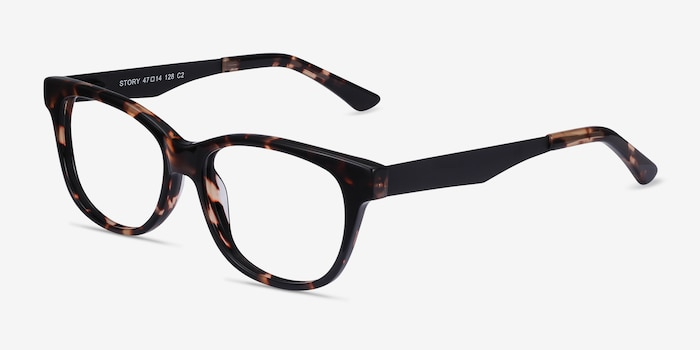 Story Tortoise Acetate Eyeglass Frames from EyeBuyDirect, Angle View