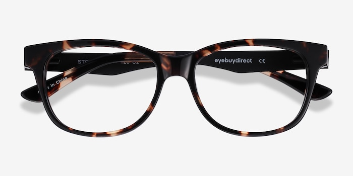 Story Tortoise Acetate Eyeglass Frames from EyeBuyDirect, Closed View