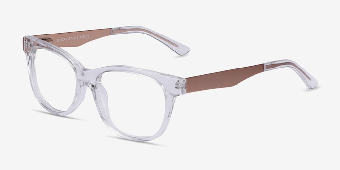 Story Clear Metal Eyeglass Frames from EyeBuyDirect, Angle View